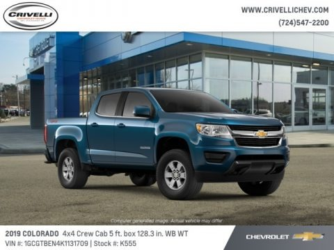 Pacific Blue Metallic 2019 Chevrolet Colorado WT Crew Cab 4x4