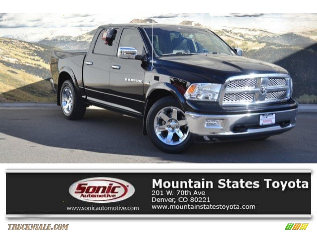 2012 Ram 1500 Laramie Crew Cab 4x4 - Black / Dark Slate Gray photo #1
