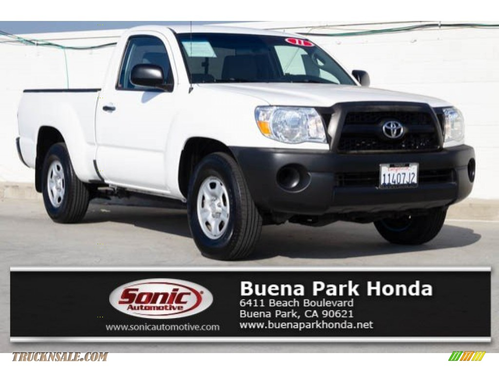 2011 Tacoma Regular Cab - Super White / Graphite Gray photo #1