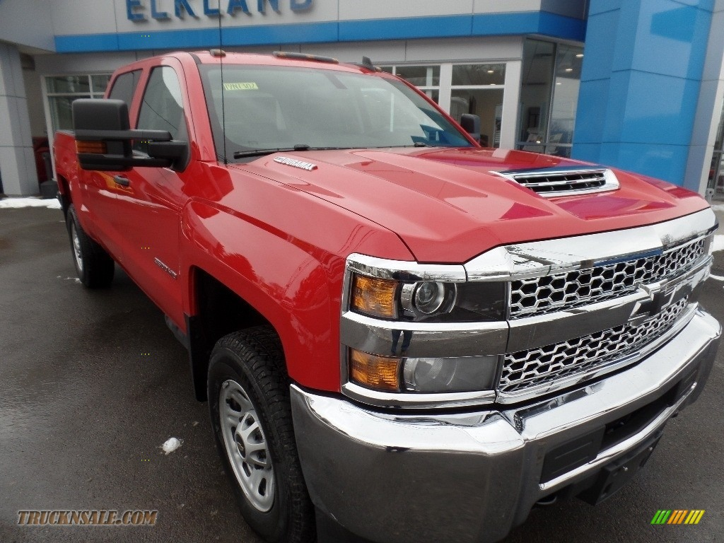 Red Hot / Dark Ash/Jet Black Chevrolet Silverado 3500HD Work Truck Crew Cab 4x4