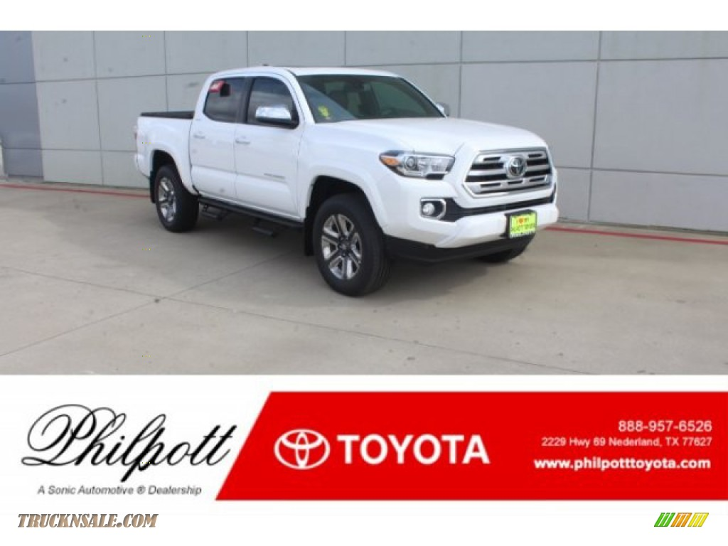 Super White / Black Toyota Tacoma Limited Double Cab