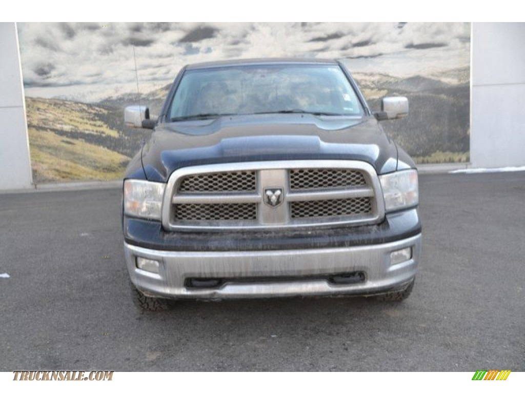 2012 Ram 1500 Laramie Crew Cab 4x4 - Black / Light Pebble Beige/Bark Brown photo #8