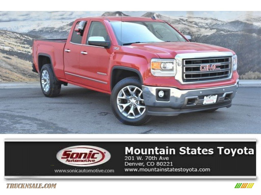 2014 Sierra 1500 SLT Double Cab 4x4 - Fire Red / Cocoa/Dune photo #1