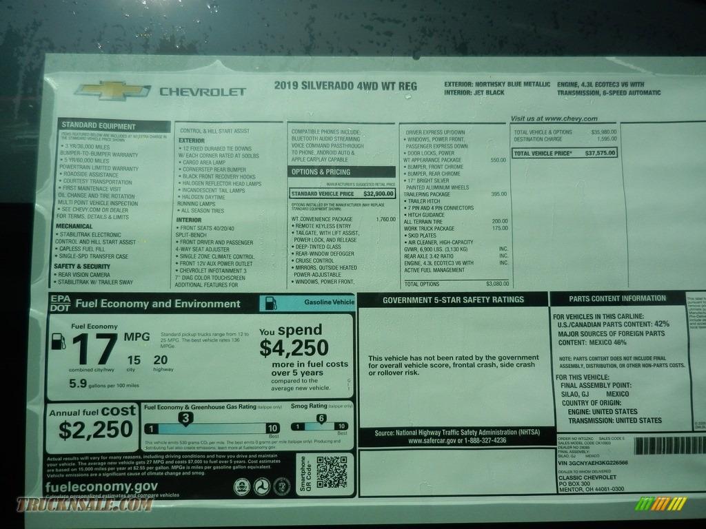 2019 Silverado 1500 WT Regular Cab 4WD - Northsky Blue Metallic / Jet Black photo #7