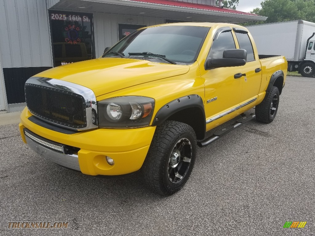 2008 Ram 1500 Laramie Quad Cab 4x4 - Detonator Yellow / Medium Slate Gray photo #1