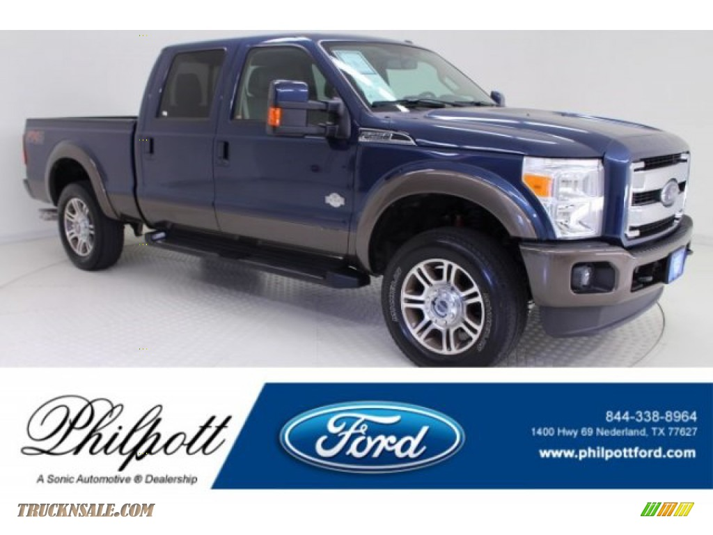 Blue Jeans Metallic / Platinum Pecan Ford F250 Super Duty King Ranch Crew Cab 4x4