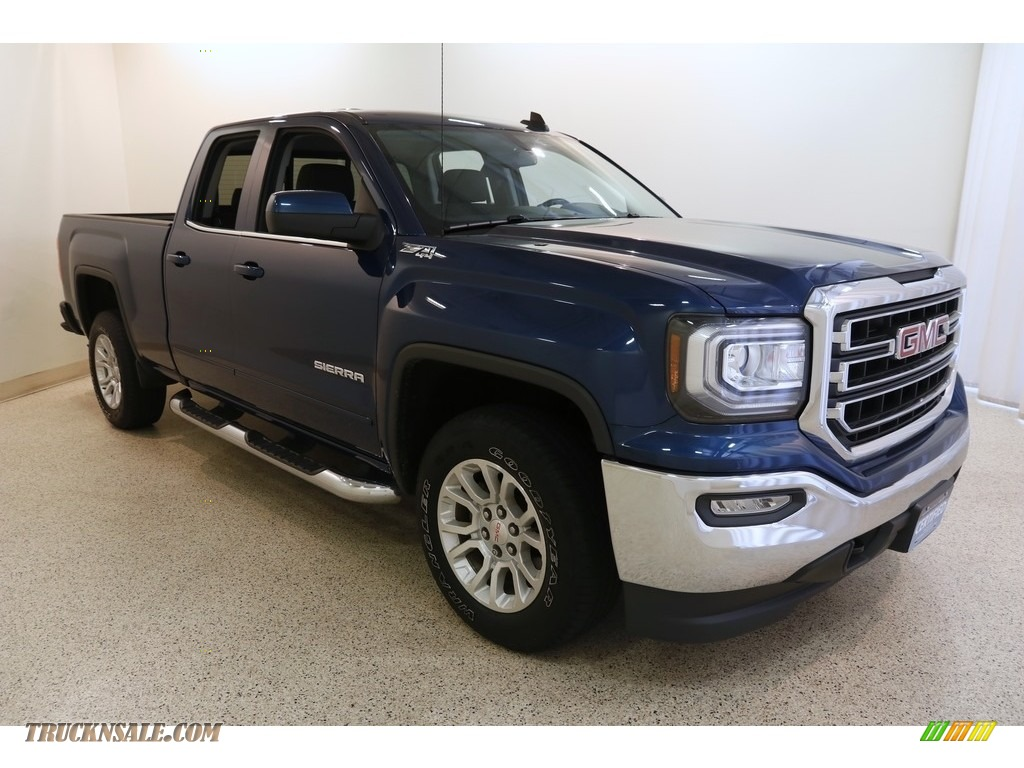 Stone Blue Metallic / Jet Black GMC Sierra 1500 SLE Double Cab 4WD