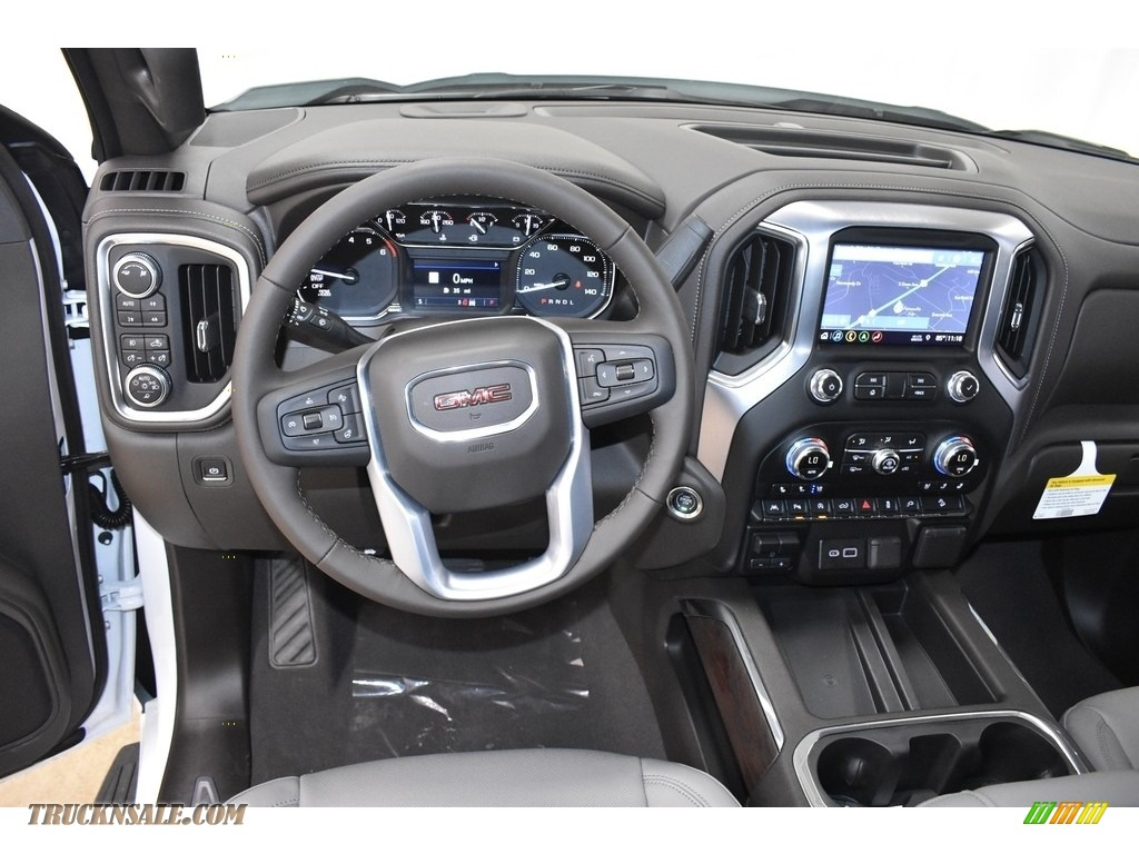 2019 Sierra 1500 SLT Crew Cab 4WD - White Frost Tricoat / Dark Walnut/­Slate photo #8