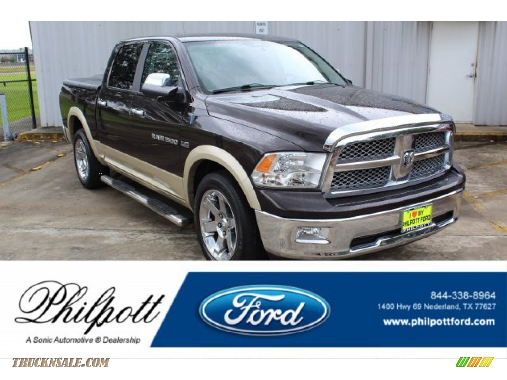2011 Ram 1500 Laramie Crew Cab - Rugged Brown Pearl / Light Pebble Beige/Bark Brown photo #1