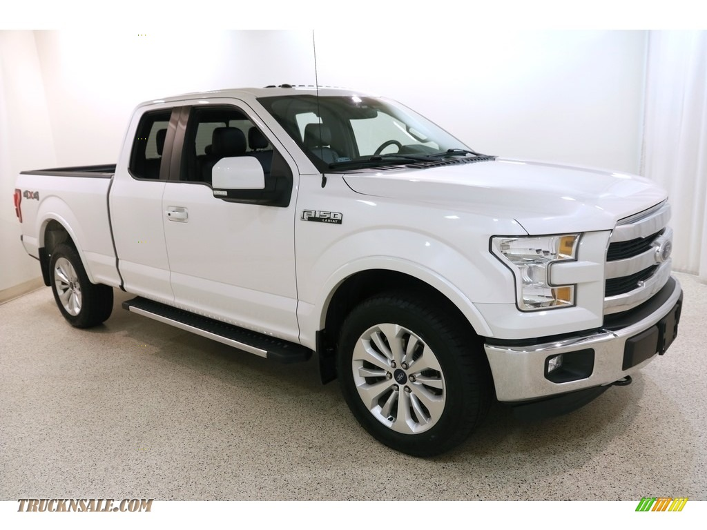 White Platinum / Black Ford F150 Lariat SuperCab 4x4