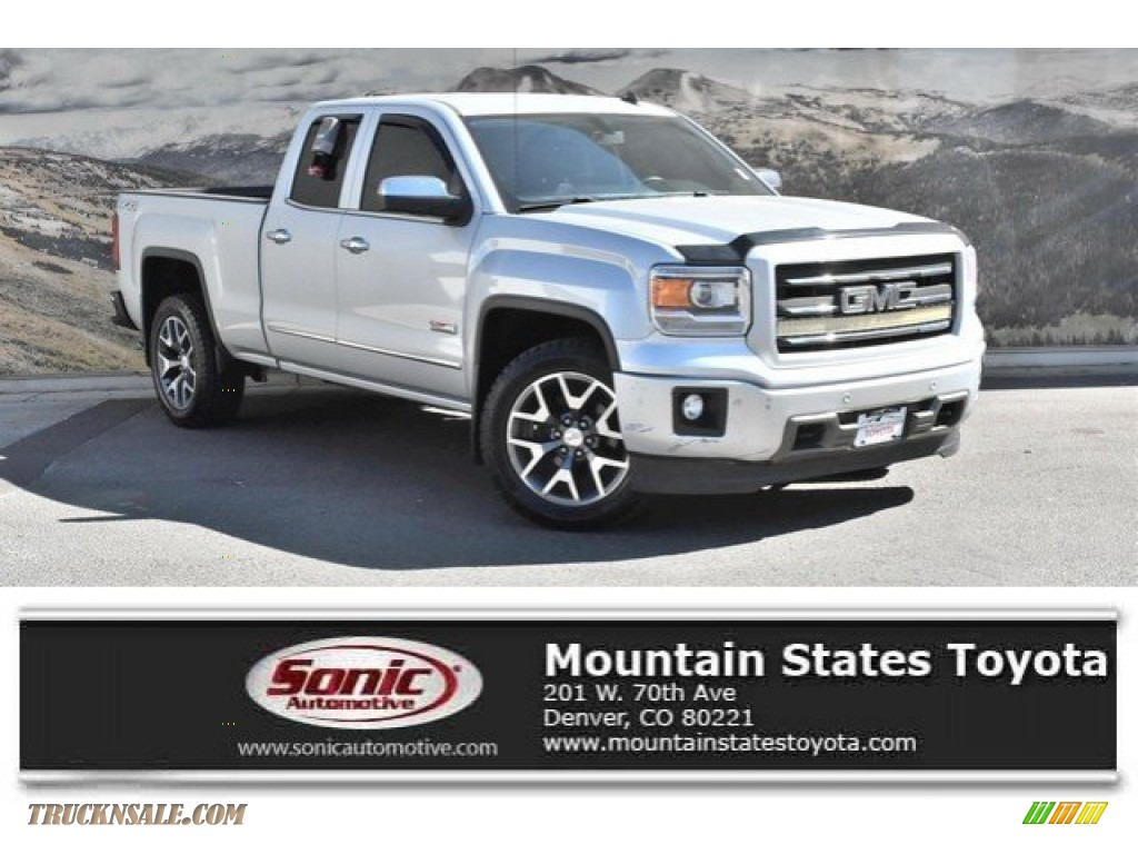 2014 Sierra 1500 SLT Double Cab 4x4 - Quicksilver Metallic / Jet Black photo #1