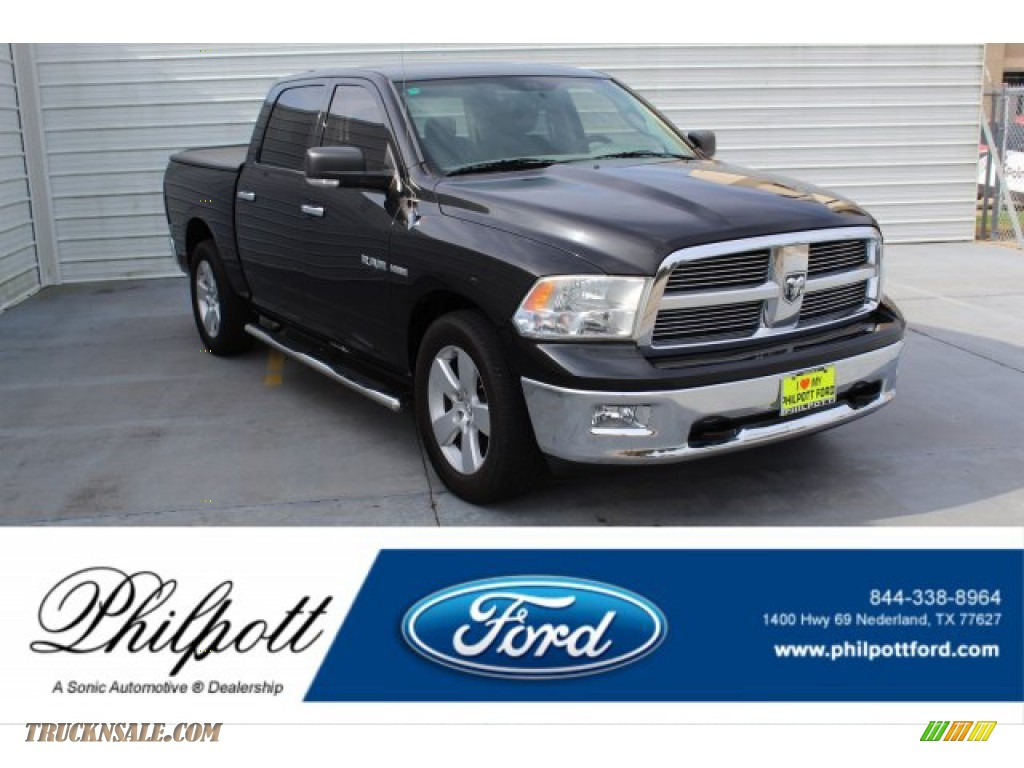2010 Ram 1500 SLT Crew Cab - Brilliant Black Crystal Pearl / Dark Slate Gray photo #1