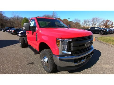 Race Red 2019 Ford F350 Super Duty XL Regular Cab 4x4 Chassis