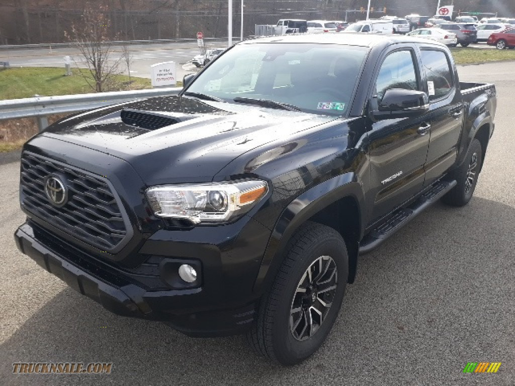 2020 Tacoma TRD Sport Double Cab 4x4 - Midnight Black Metallic / TRD Cement/Black photo #32