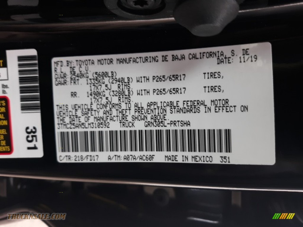 2020 Tacoma TRD Sport Double Cab 4x4 - Midnight Black Metallic / TRD Cement/Black photo #41