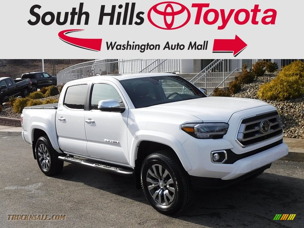 2020 Tacoma Limited Double Cab 4x4 - Blizzard White Pearl / Hickory photo #1