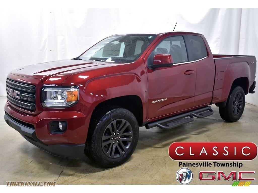 2020 Canyon SLE Extended Cab 4WD - Red Quartz Tintcoat / Cocoa/Dune photo #1