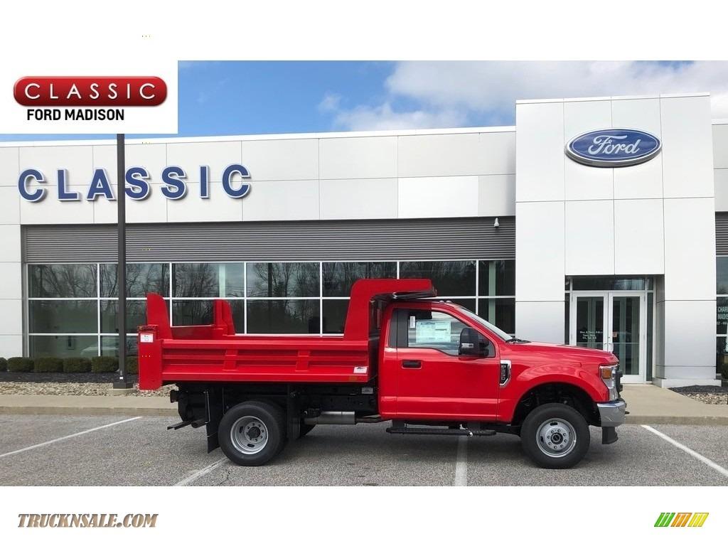 2020 F350 Super Duty XL Regular Cab 4x4 Chassis Dump Truck - Race Red / Medium Earth Gray photo #1