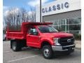 Ford F350 Super Duty XL Regular Cab 4x4 Chassis Dump Truck Race Red photo #2