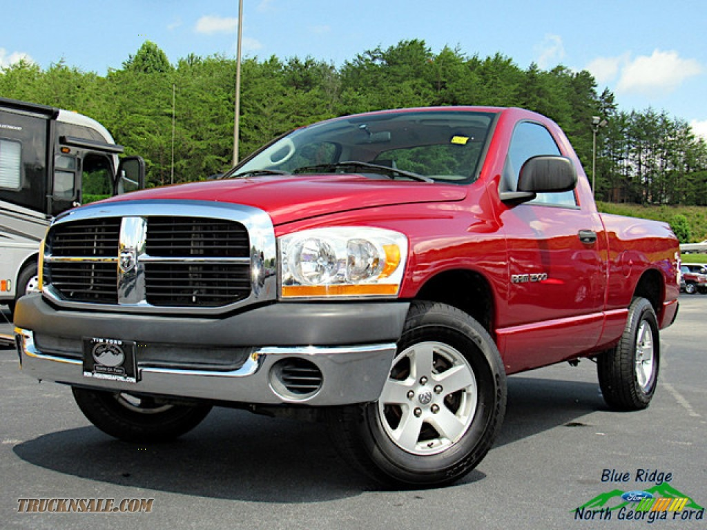 2006 Ram 1500 ST Regular Cab - Inferno Red Crystal Pearl / Khaki Beige photo #1