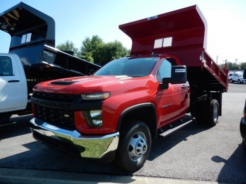 Red Hot 2020 Chevrolet Silverado 3500HD Work Truck Regular Cab 4x4 Dump Truck
