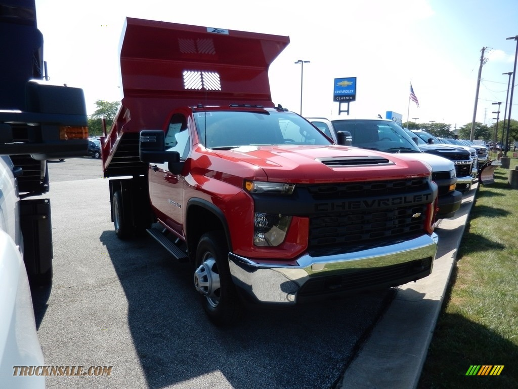 2020 Silverado 3500HD Work Truck Regular Cab 4x4 Dump Truck - Red Hot / Jet Black photo #3