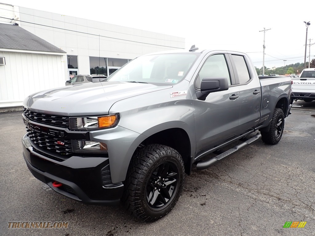 Satin Steel Metallic / Jet Black Chevrolet Silverado 1500 Custom Trail Boss Double Cab 4x4