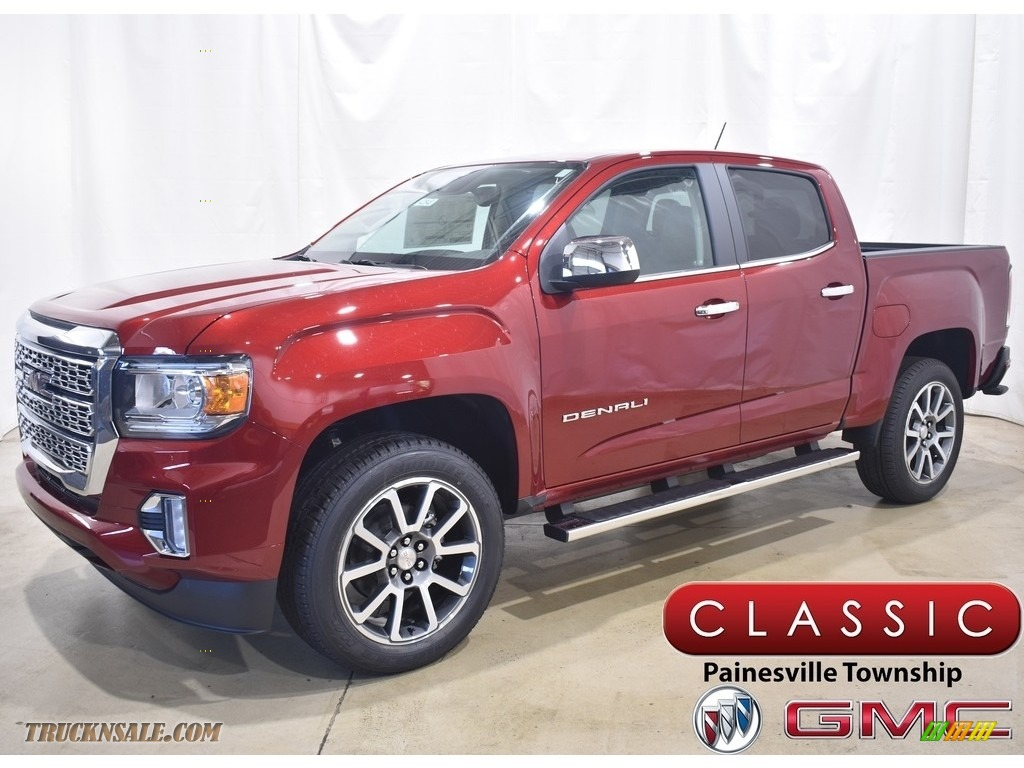 Cayenne Red Tintcoat / Cocoa/Dark Atmosphere GMC Canyon Denali Crew Cab 4WD
