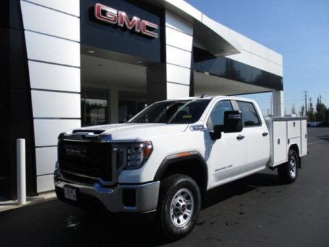 Summit White 2020 GMC Sierra 3500HD Crew Cab 4WD Chassis Utility Truck