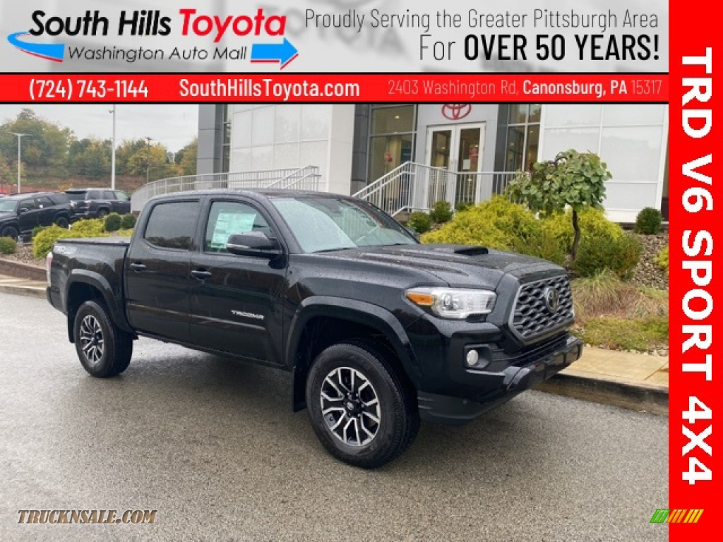 2021 Tacoma TRD Sport Double Cab 4x4 - Midnight Black Metallic / TRD Cement/Black photo #1
