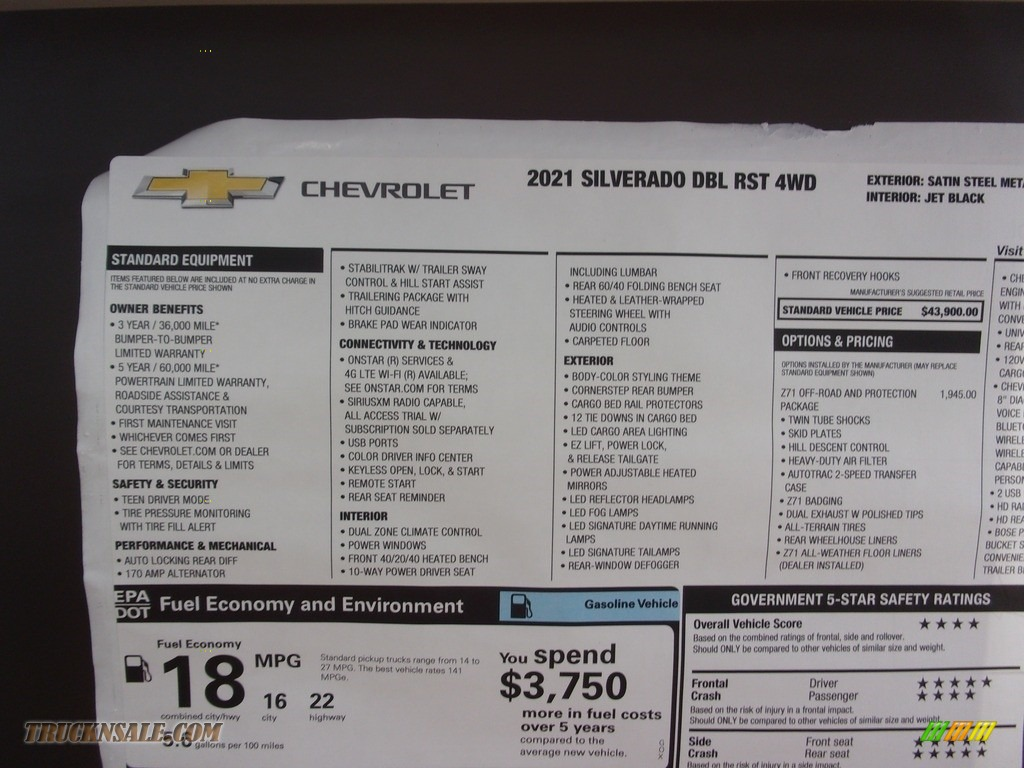 2021 Silverado 1500 RST Crew Cab 4x4 - Satin Steel Metallic / Jet Black photo #33