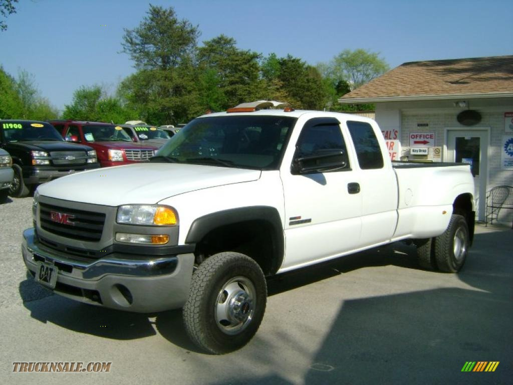 2003 sierra 3500 sle extended cab 4x4 dually summit white dark pewter photo