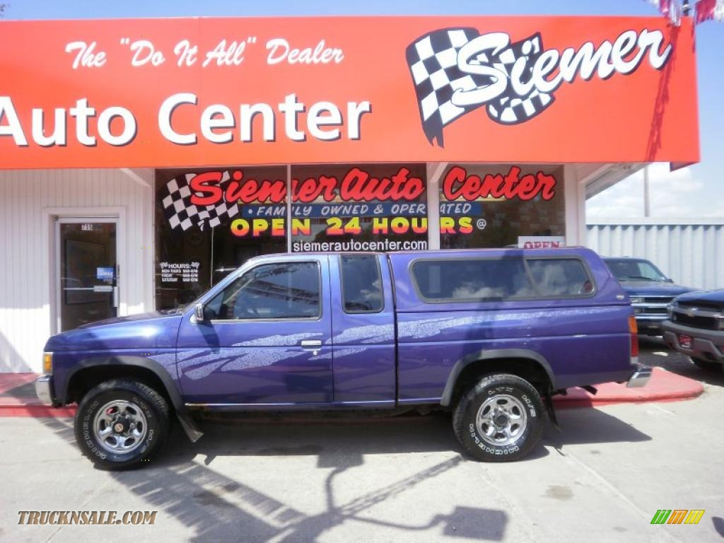 Royal Blue Metallic / Gray Nissan Hardbody Truck XE V6 Extended Cab