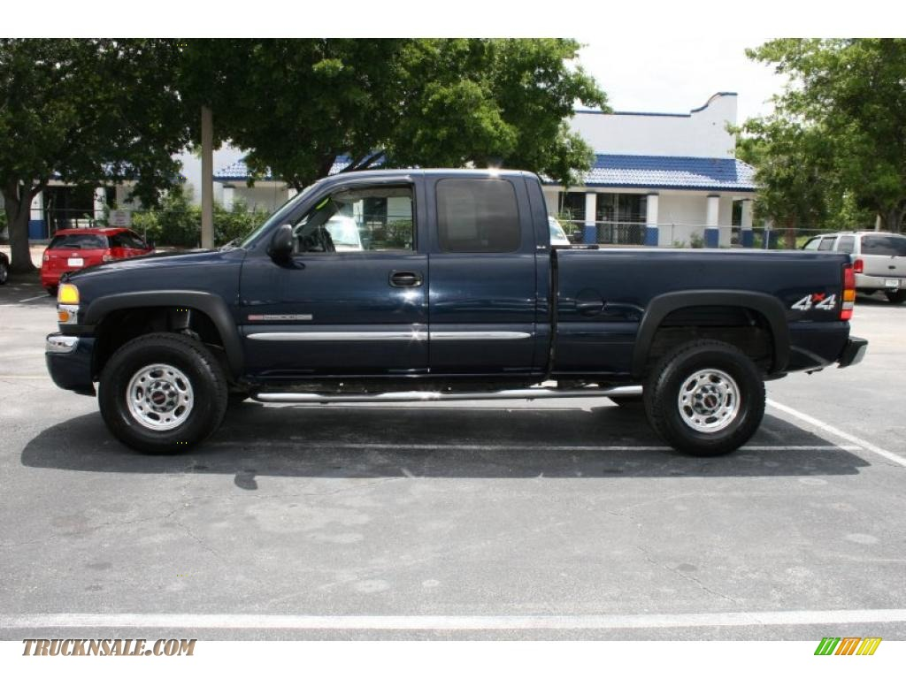 2005 sierra 2500hd sle extended cab 4x4 deep blue metallic dark pewter photo