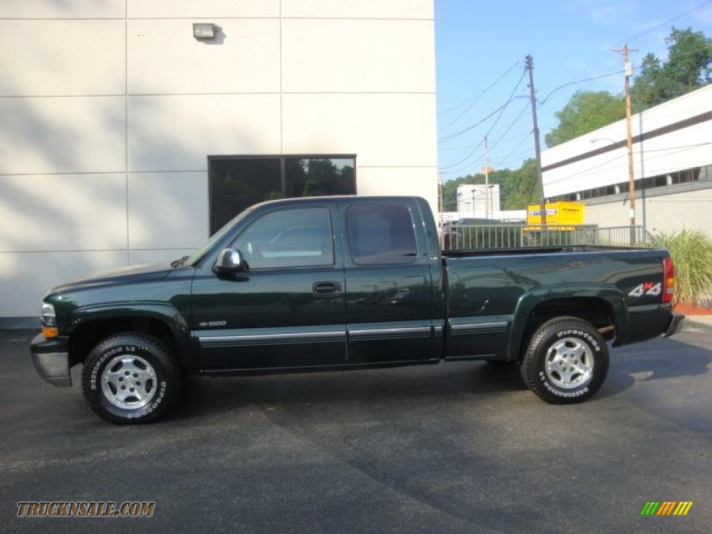 2001 Silverado 1500 LS Extended Cab 4x4 - Medium Green Pearl Metallic / Graphite photo #1