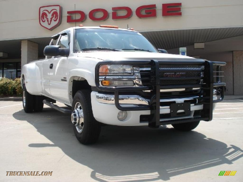 2003 sierra 3500 slt extended cab dually summit white neutral photo 1