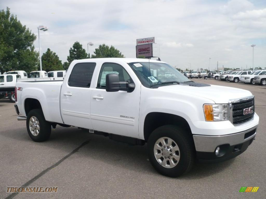 Summit white ebony gmc sierra 2500hd slt crew cab 4x4