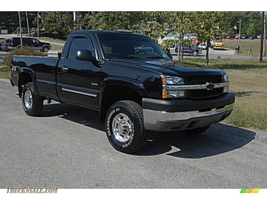 2004 chevrolet silverado 2500hd ls regular cab 4x4 in black 311973 truck n 39 sale. Black Bedroom Furniture Sets. Home Design Ideas