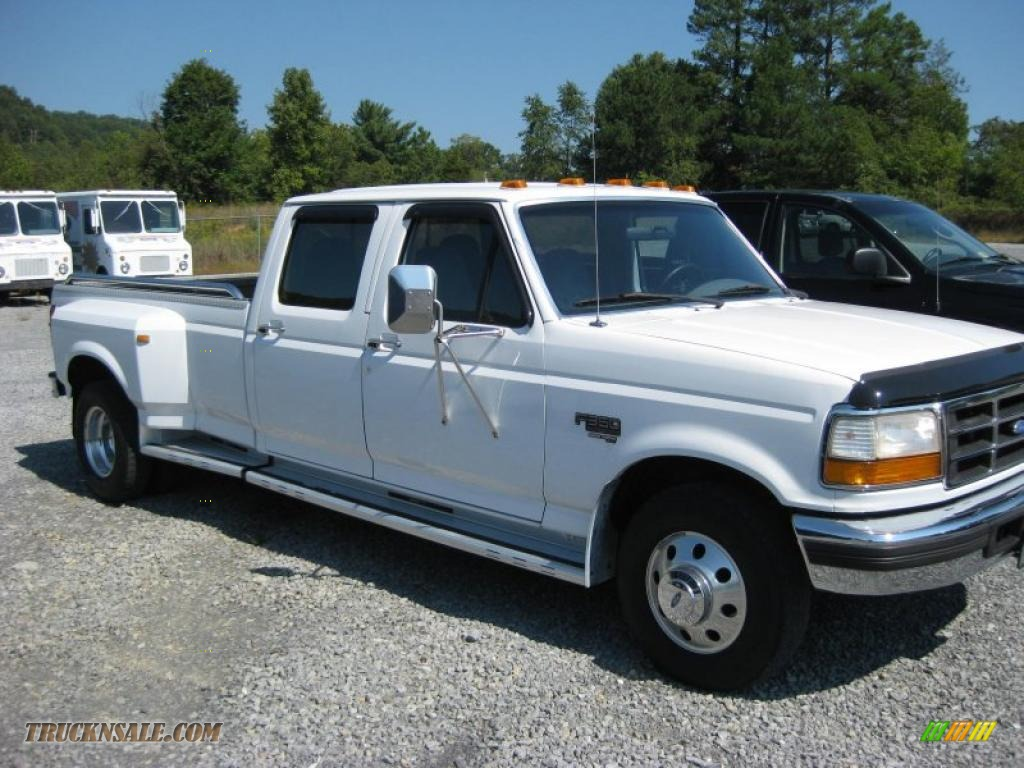 1997 f350 xlt crew cab dually oxford white opal grey photo 2