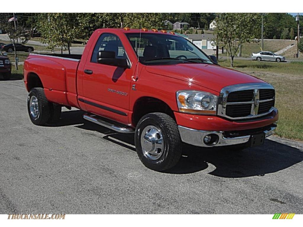 Flame red medium slate gray dodge ram 3500 slt regular cab 4x4 dually