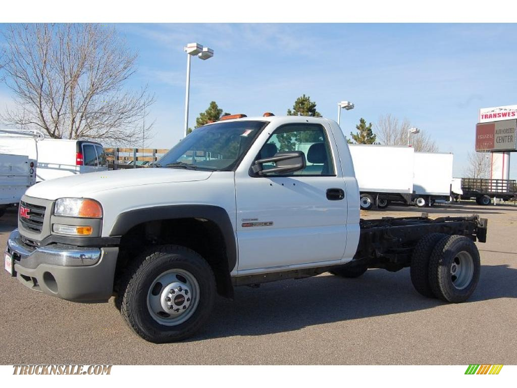 Summit white dark pewter gmc sierra 3500 work truck regular cab 4x4 dually chassis
