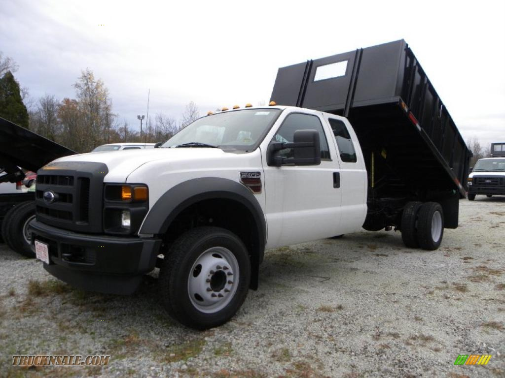 Oxford white medium stone ford f450 super duty supercab chassis dump truck