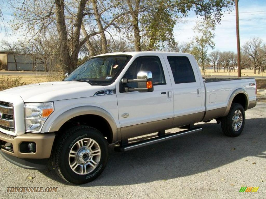 White platinum tri coat metallic chaparral leather ford f350 super duty king ranch crew