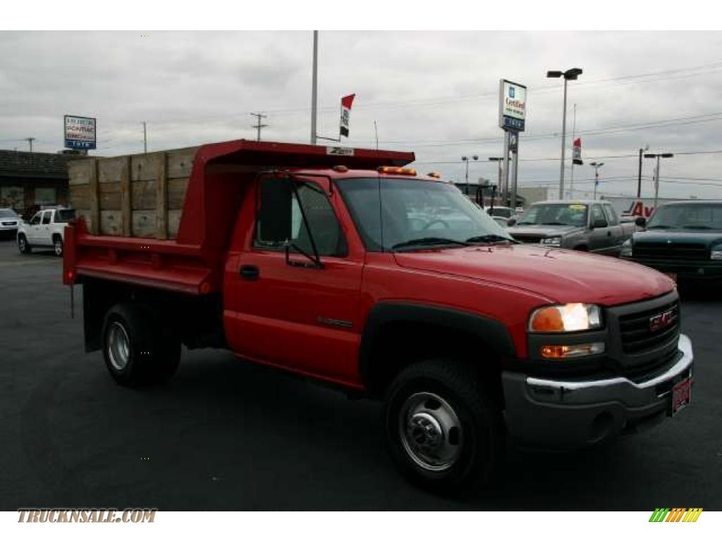 Victory red pewter gmc sierra 3500 sle regular cab 4x4 dually dump truck