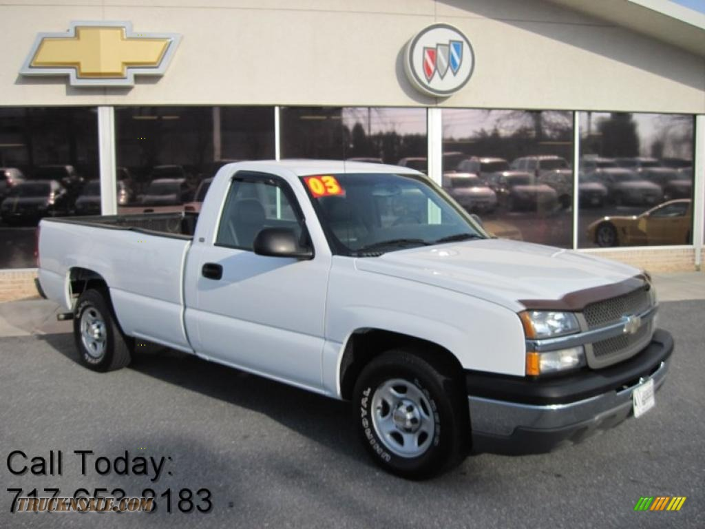 2003 chevrolet silverado 1500 regular cab in summit white 356319 truck n 39 sale. Black Bedroom Furniture Sets. Home Design Ideas