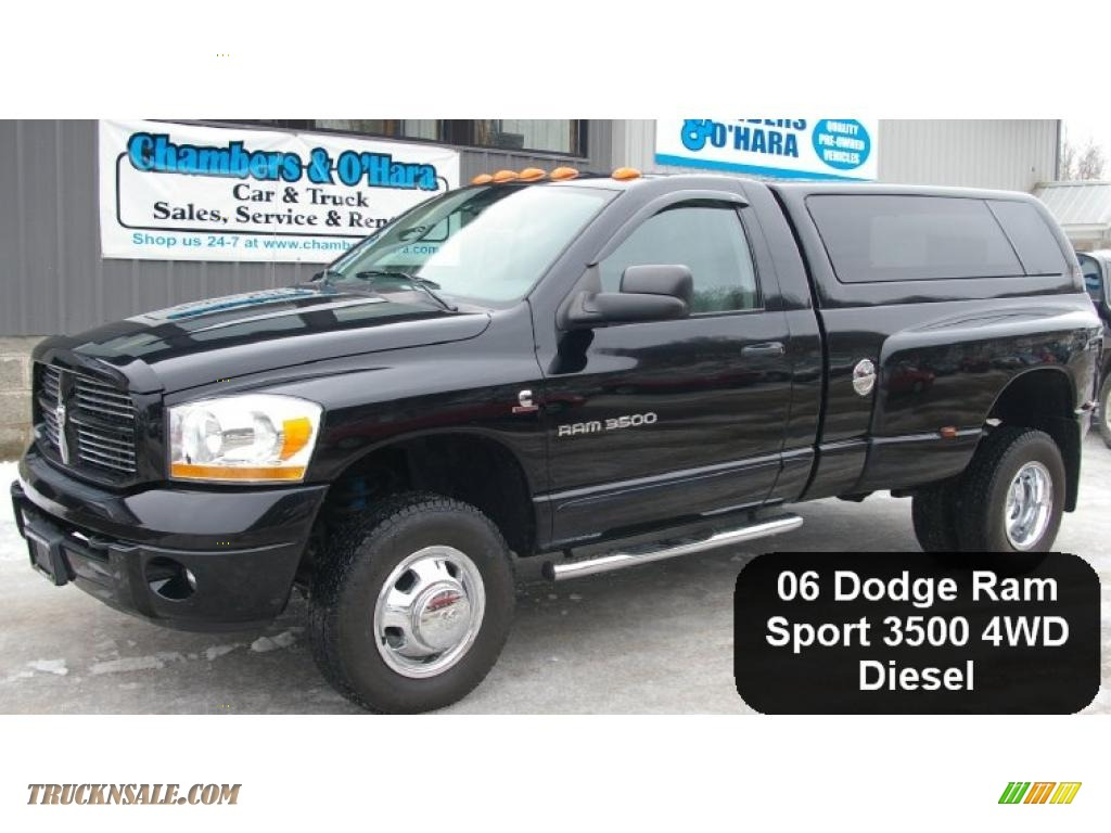 2006 dodge ram 3500 sport regular cab 4x4 dually in black. Black Bedroom Furniture Sets. Home Design Ideas