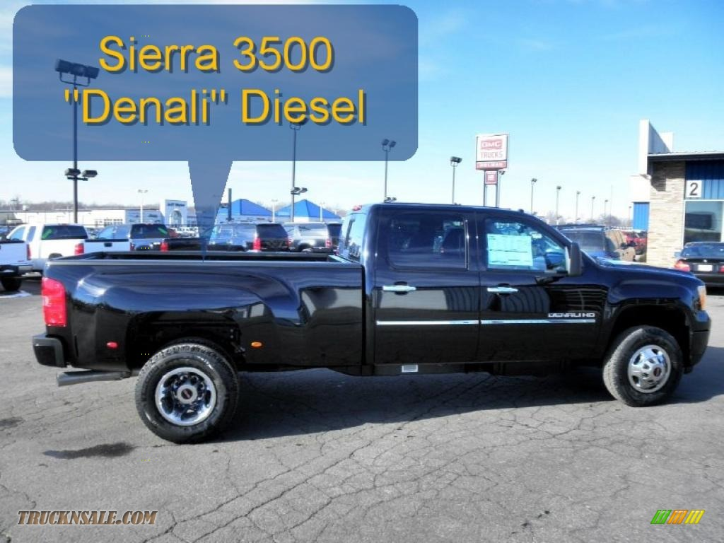 2011 Sierra 3500HD Denali Crew Cab 4x4 Dually - Onyx Black / Ebony photo #1