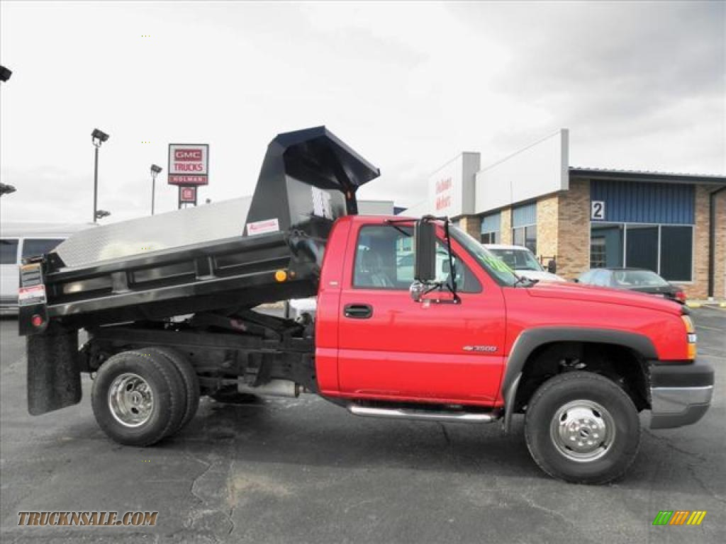 Victory red dark charcoal chevrolet silverado 3500 regular cab 4x4 chassis dump truck