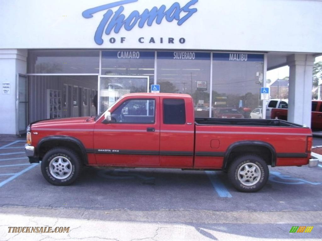1994 Dakota SLT Extended Cab 4x4 - Poppy Red / Red photo #1