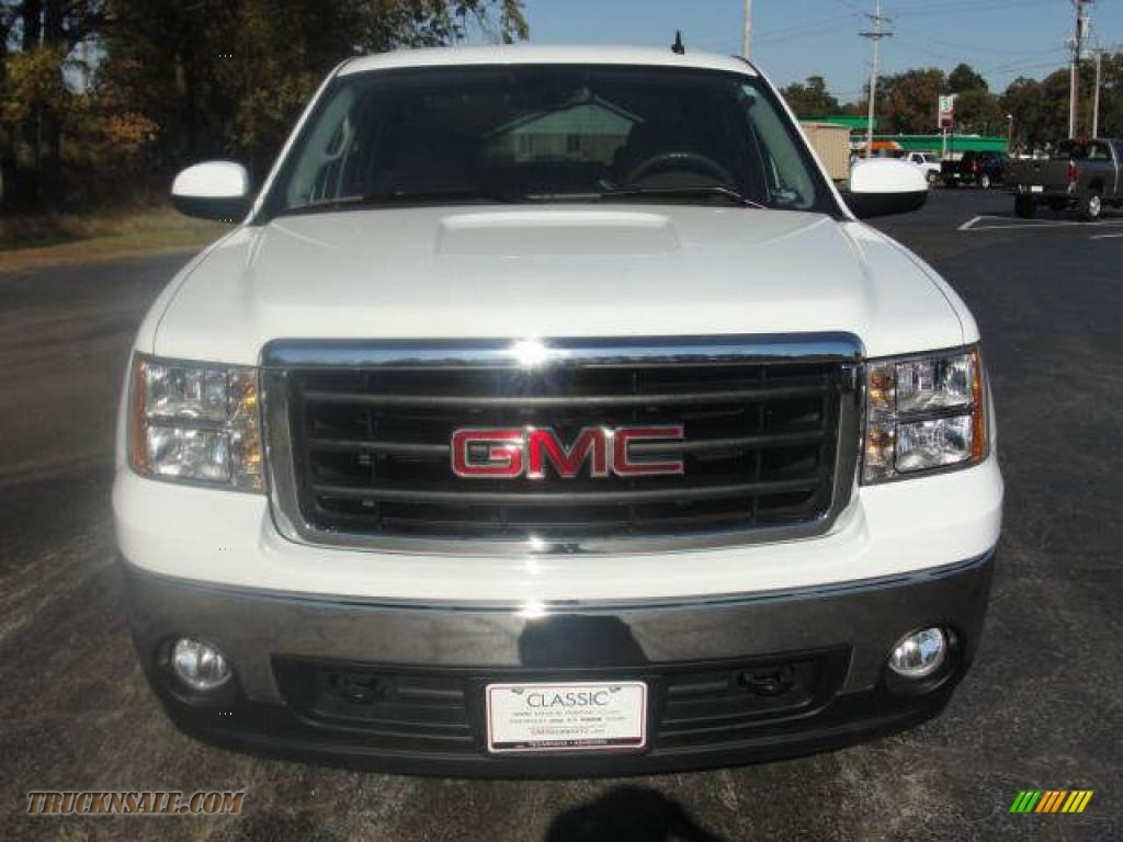 2008 Sierra 1500 SLT Crew Cab - Summit White / Light Cashmere photo #1